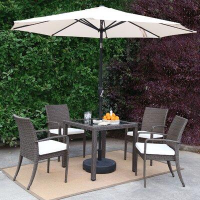 Market Wicker Outdoor Patio 7 Piece Dining Set with Umbrella Baner Garden Accessory Color: White