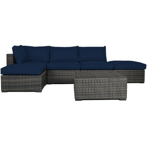 Lara 6 Piece Wicker Deep Sectional Seating Group with Cushions