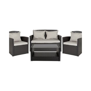 Ware 4 Piece Rattan Sectional Seating Group by Charlton Home Design