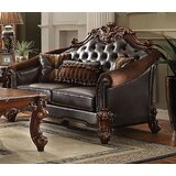 Mackay 67 Wide Faux Leather Rolled Arm Loveseat by Cozzy Design