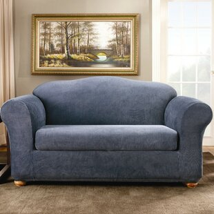 Stretch Stripe Box Cushion Sofa Slipcover