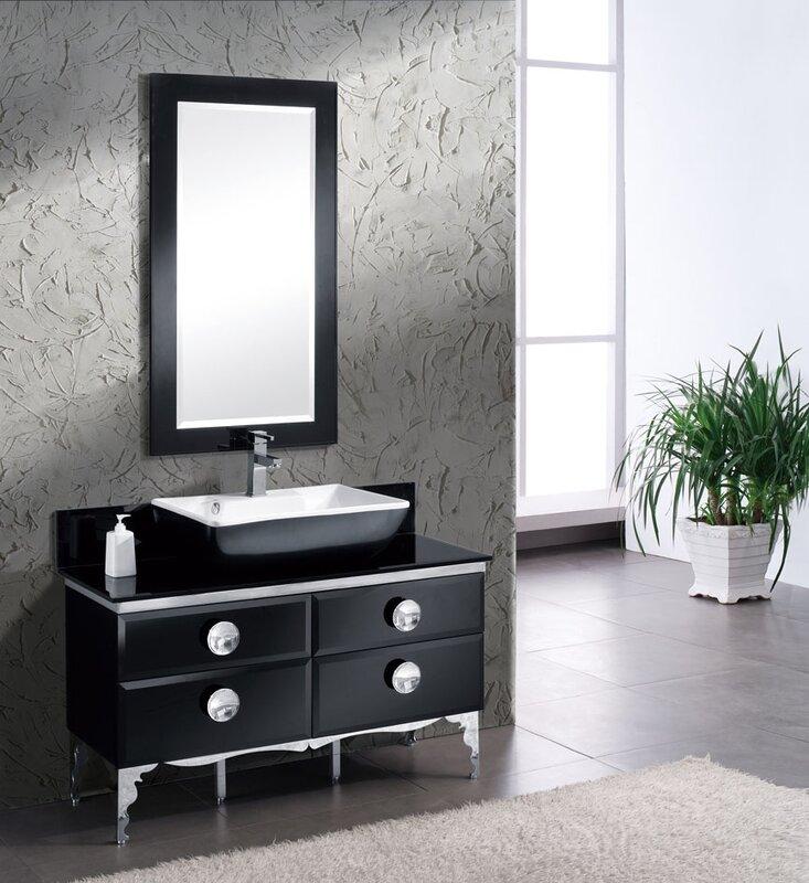 "Bathroom Vanity Glass fresca moselle 47"" single modern glass bathroom vanity set with"