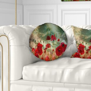 Floral Wild Poppy Flowers in Sky Throw Pillow