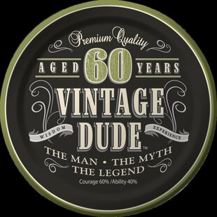 Vintage Dude 60th Birthday Dessert Plates (Set of 8)