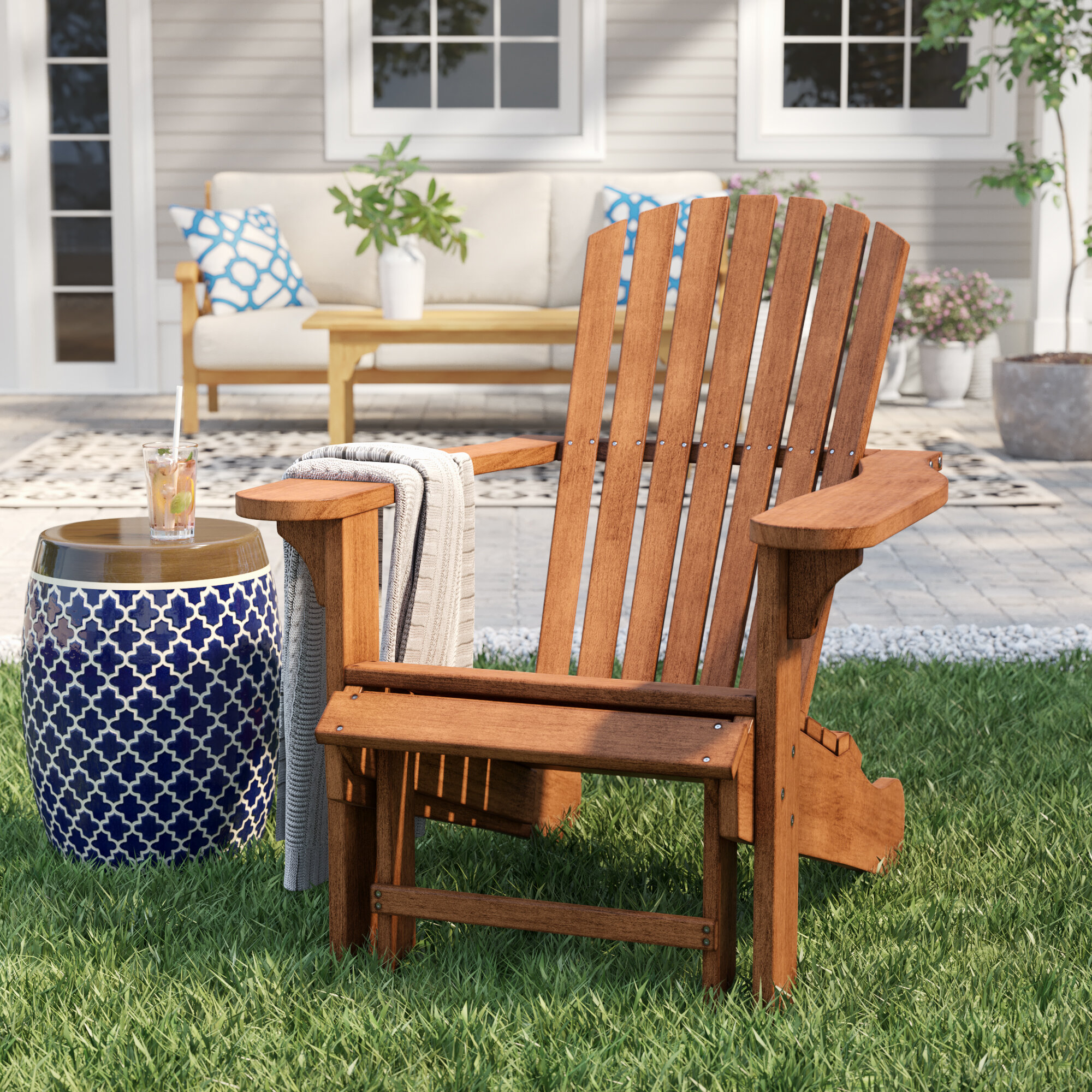 Birch Lane Heritage Damiáno Solid Wood Adirondack Chair With Ottoman Reviews