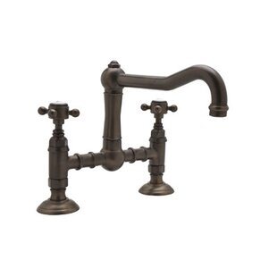 Rohl Deck Mounted Bridge Faucet with Cross Handles in Satin Nickel
