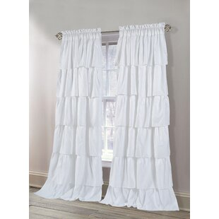 Bodhi Carnival Layered Ruffles Solid Color Room Darkening Curtain Panels Set Of 2