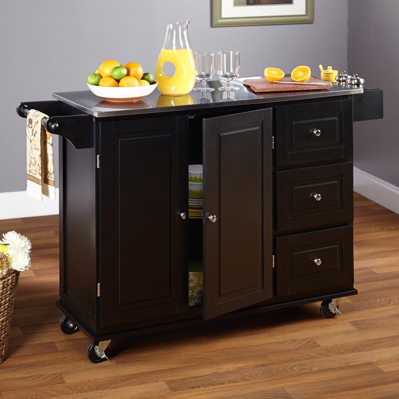 TMS Wallace Kitchen Island with Stainless Steel Top & Reviews | Wayfair