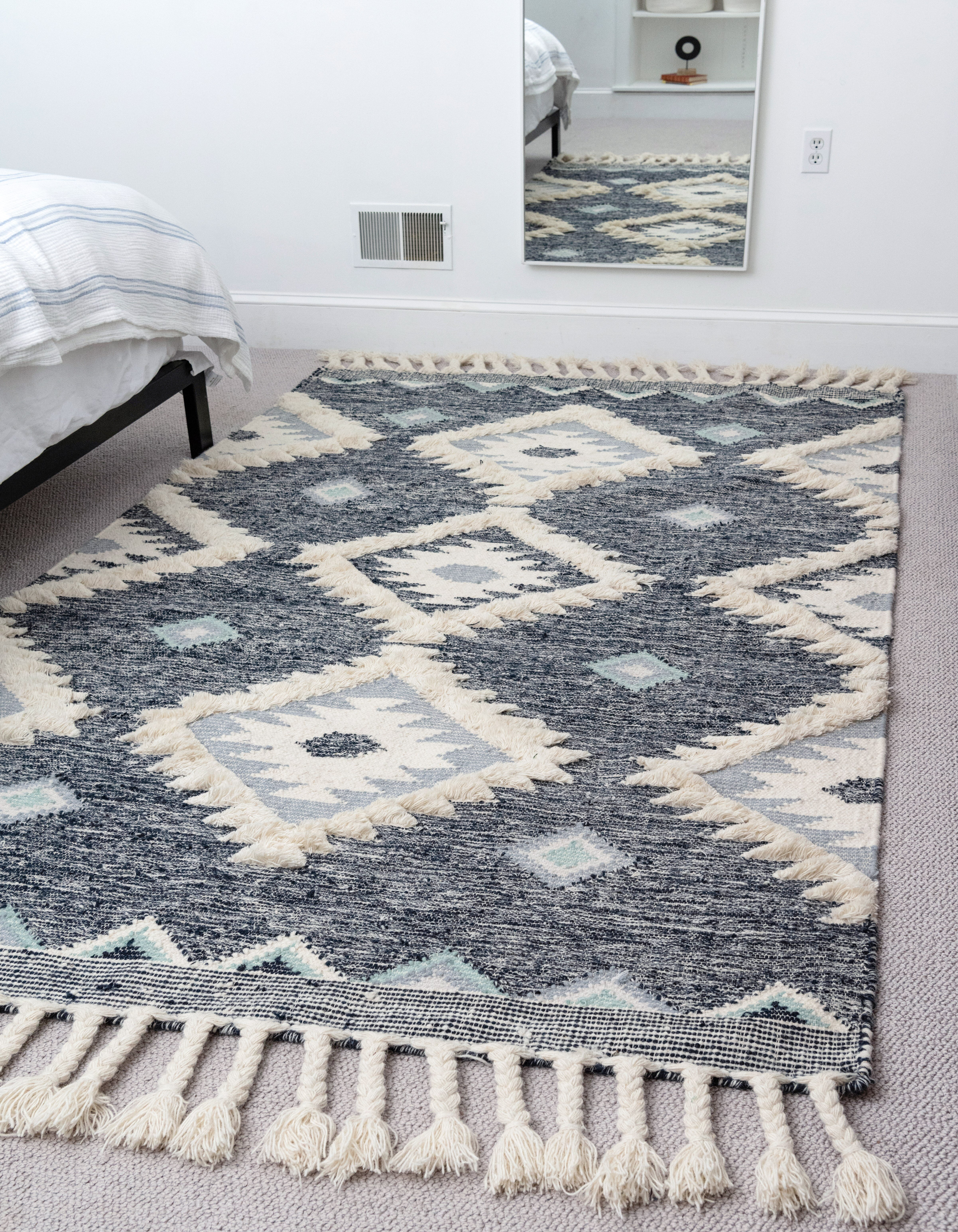 Union Rustic Shriver Southwestern Hand Woven Flatweave Wool Navy Area Rug Reviews Wayfair
