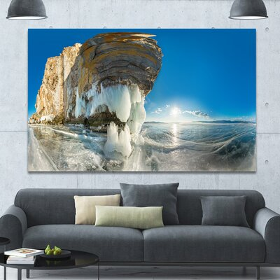 Rock on Olkhon Island in Baikal Lake Photographic Print on Wrapped Canvas DesignArt Size 40 H x 60 W x 15 D