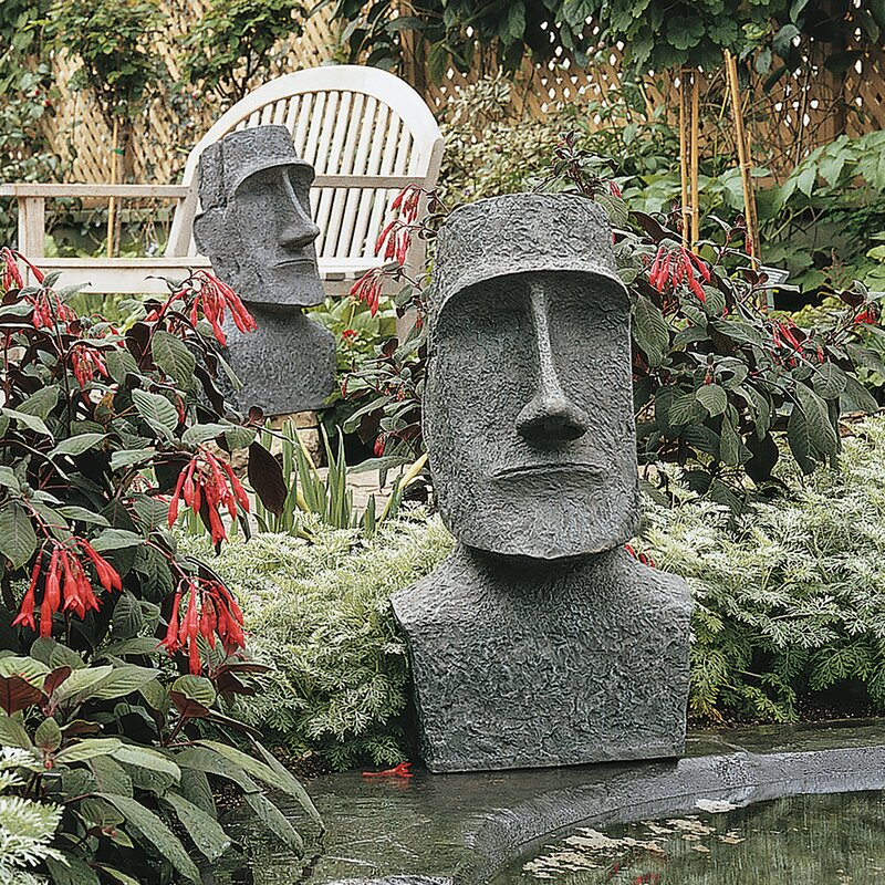 Great Easter Island Ahu Akivi Moai Monolith Garden Statue