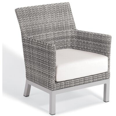 Brayden Studio Saleem Club Patio Chair with Cushions Cushion Color: Eggshell White