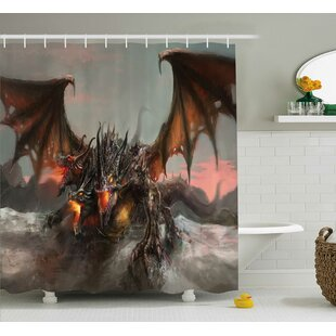 Todd Illustration of Three Headed Fire Breathing Dragon Large Monster Theme Single Shower Curtain