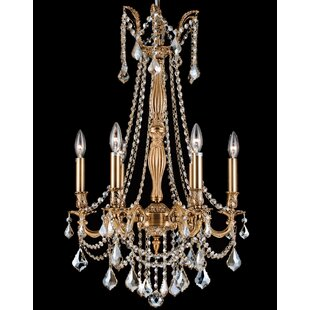 House of Hampton Eilis Brass Casting 6-Light Candle Style Chandelier