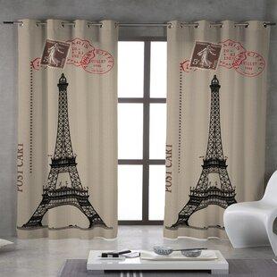 Howse Bonjour Paris! Post Cart Grommet Single Curtain Panel