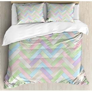 Soft ColoRealistic Parquet Wooden Floor Pattern Herringbone Country Home Print Duvet Set by East Urban Home