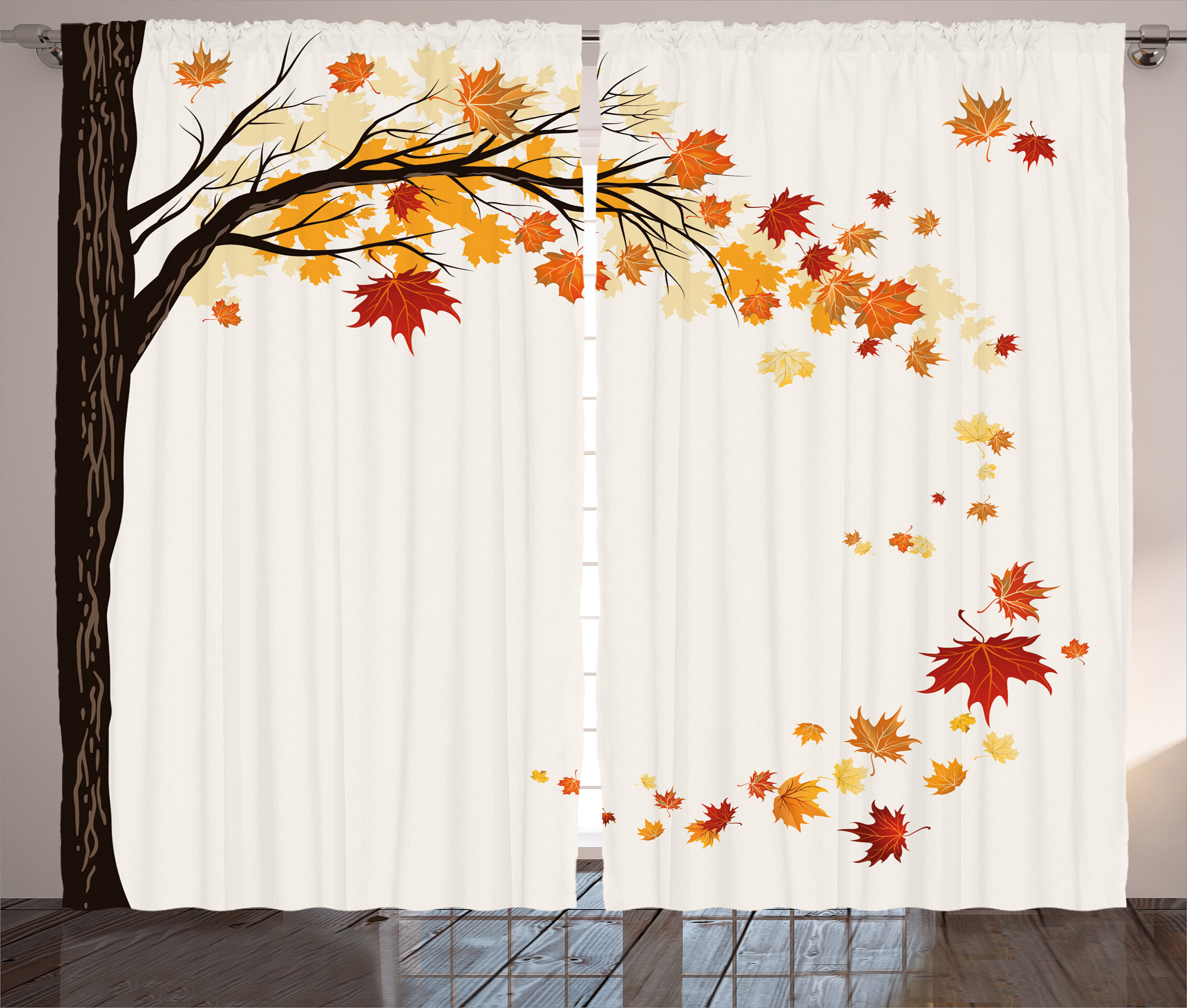 Red Barrel Studio Worthington Fall Decorations Leaf Group Motion In Mother Earth Transition From Summer To Winter Graphic Print Text Semi Sheer Rod Pocket Curtain Panels Wayfair