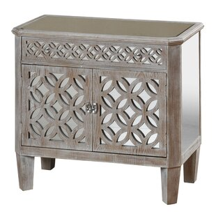 Rosdorf Park Lyra Mirrored and Distressed 2 Door Accent Cabinet