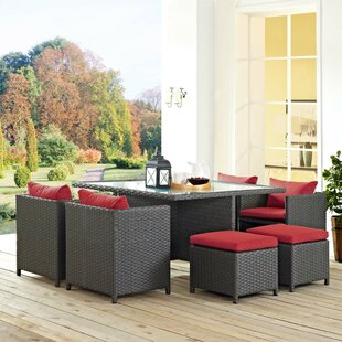 Leda 9 Piece Rattan Sunbrella Dining Set with Cushions
