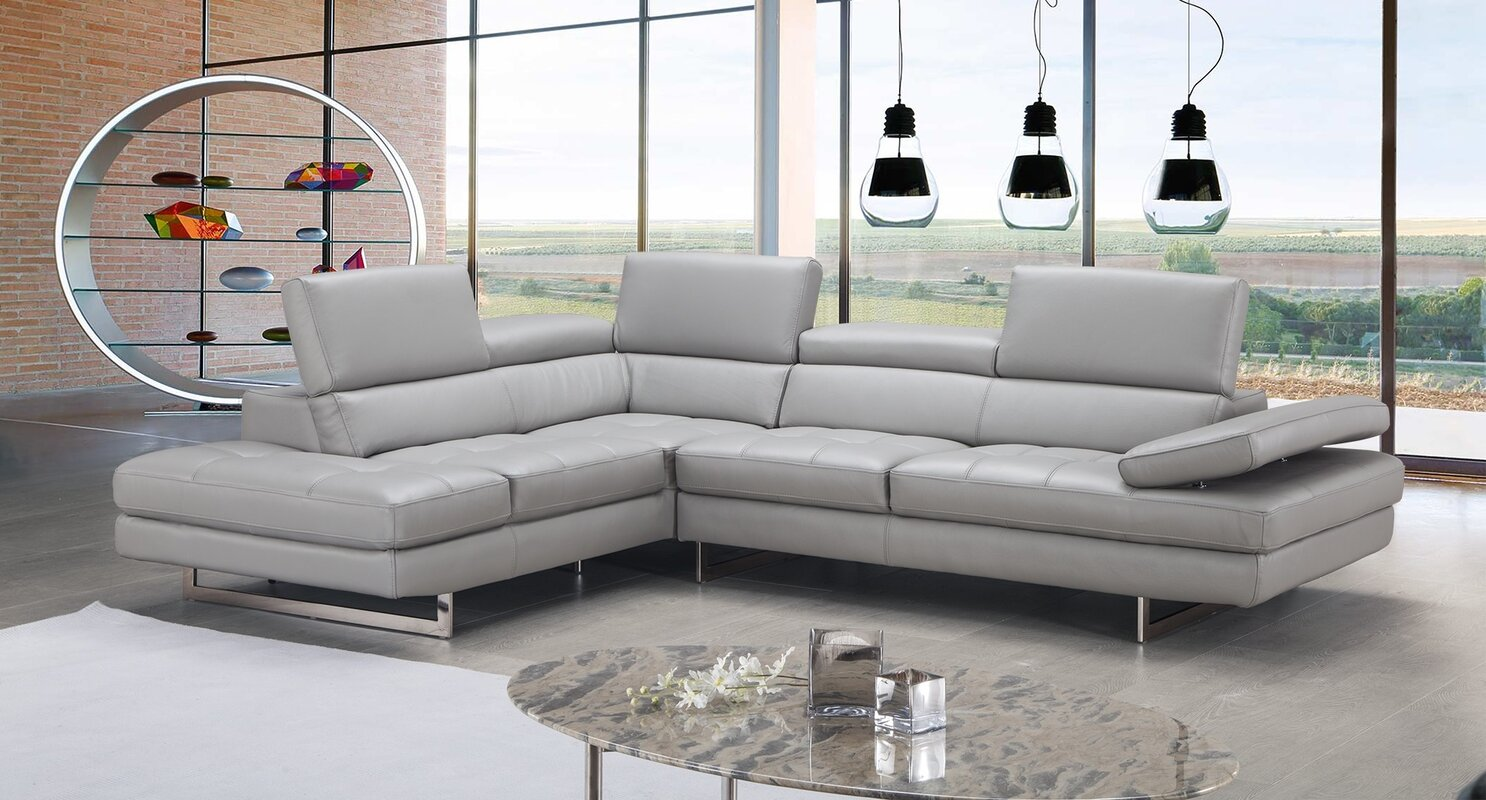 J&M Furniture Aurora Leather Sectional & Reviews | Wayfair