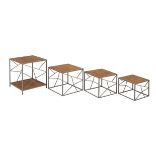 Metal and Wood 4 Piece Nesting Tables