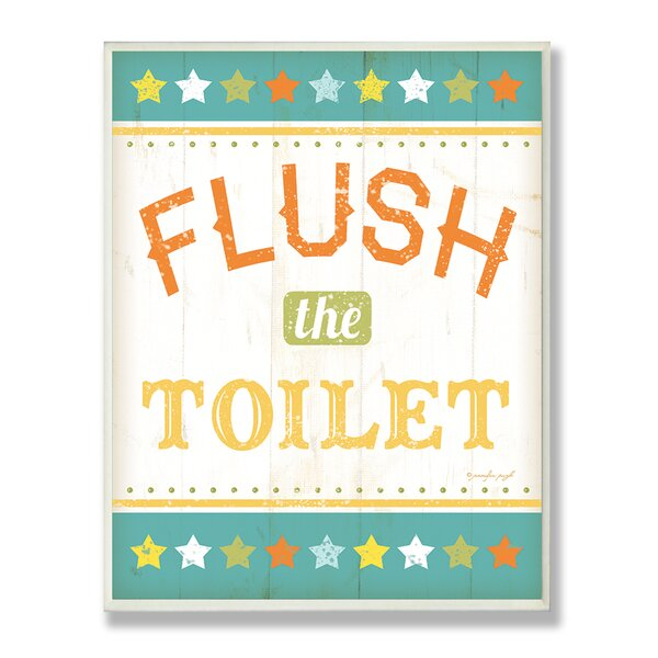 Flush the Toilet Rainbow Typography Bathroom Wall Plaque