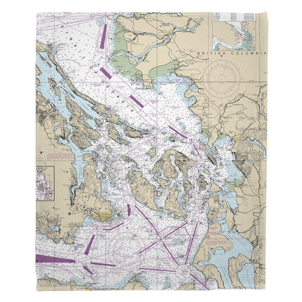 Longshore Tides Nautical Chart San Juan Islands Bellingham Anacortes Wa Fleece Blanket Wayfair