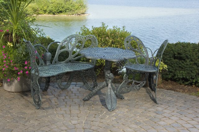 butterfly 3 piece bench seating group set - Garden Furniture Table Bench Seat