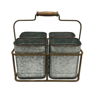 4 Cane Metal Flatware Caddy