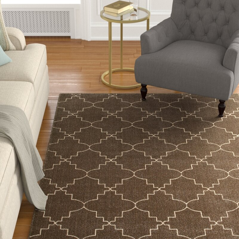 Alcott Hill Allen Brown/Ivory Area Rug, Size: Rectangle 710 x 1010