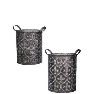 Fleur De Lis Living Taya Embossed Pattern 2-Piece Metal Pot Planter Set