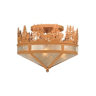 Meyda Tiffany Deer Through the Trees 4-Light Semi-Flush Mount