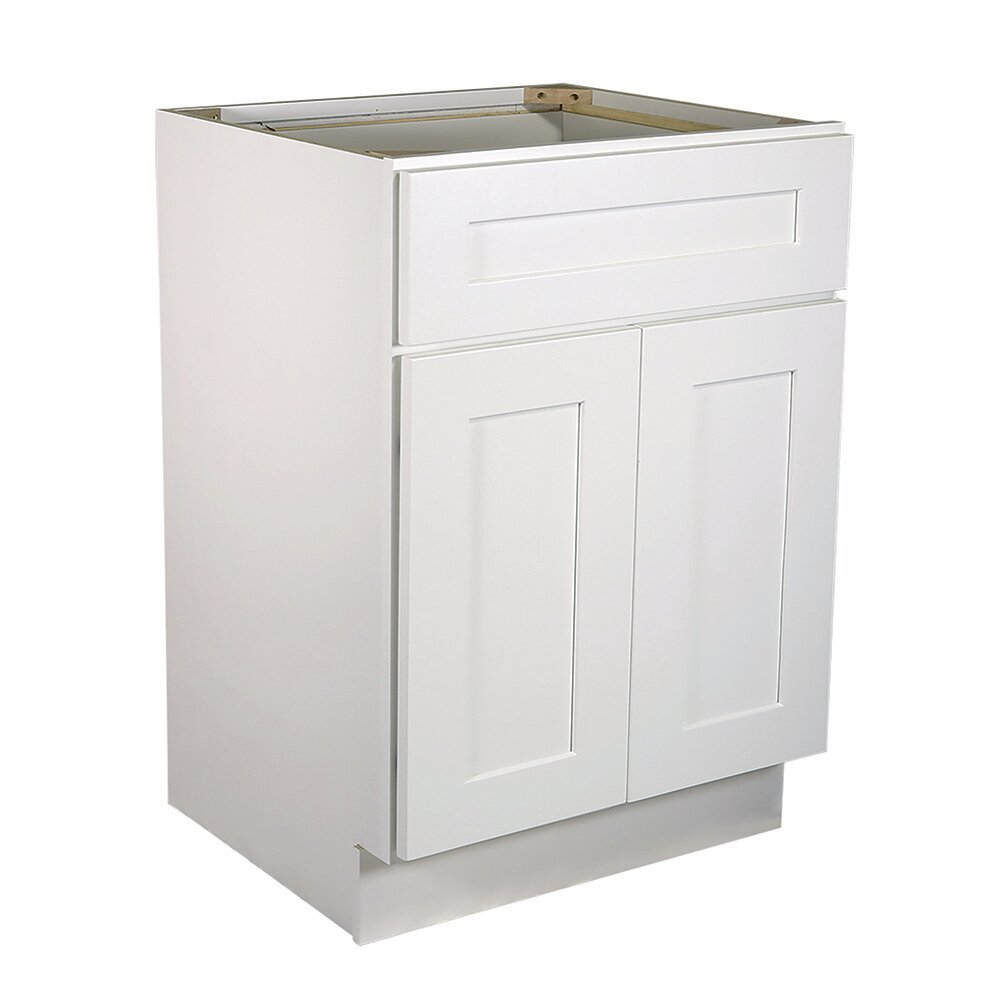Ebern Designs Frits Ready To Assemble 21 X 34 5 X 24 In Base Cabinet Style 1 Door With 1 Drawer In White Wayfair