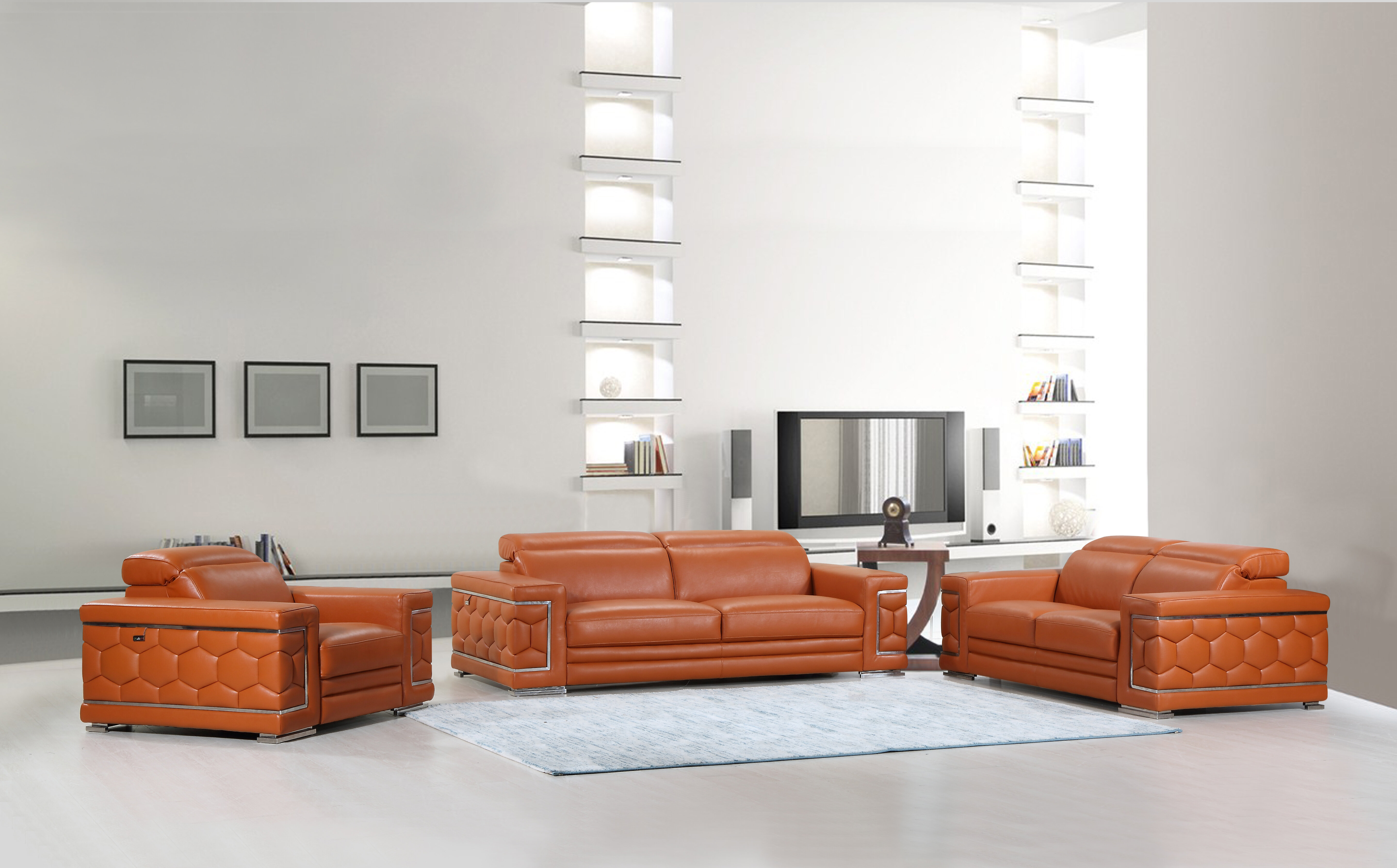Hawkesbury Common Luxury Italian Upholstered Complete Leather 3 Piece  Living Room Set