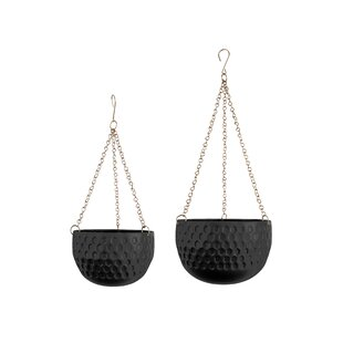 2 Piece Metal Hanging Basket Set By Present Time