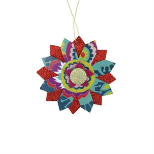 Bohemian Holiday Colorful Floral Layered Glittered Snowflake Christmas Holiday Shaped Ornament By The Holiday Aisle by The Holiday Aisle