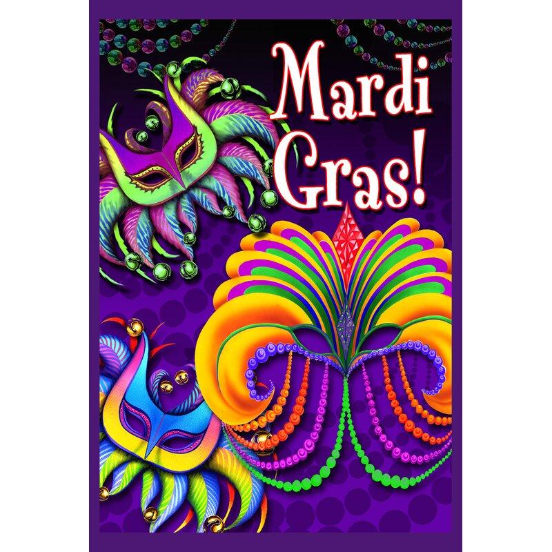 Happy Mardi Gras Playful Mardi Gras House Flag - Mardi Gras Wall Art