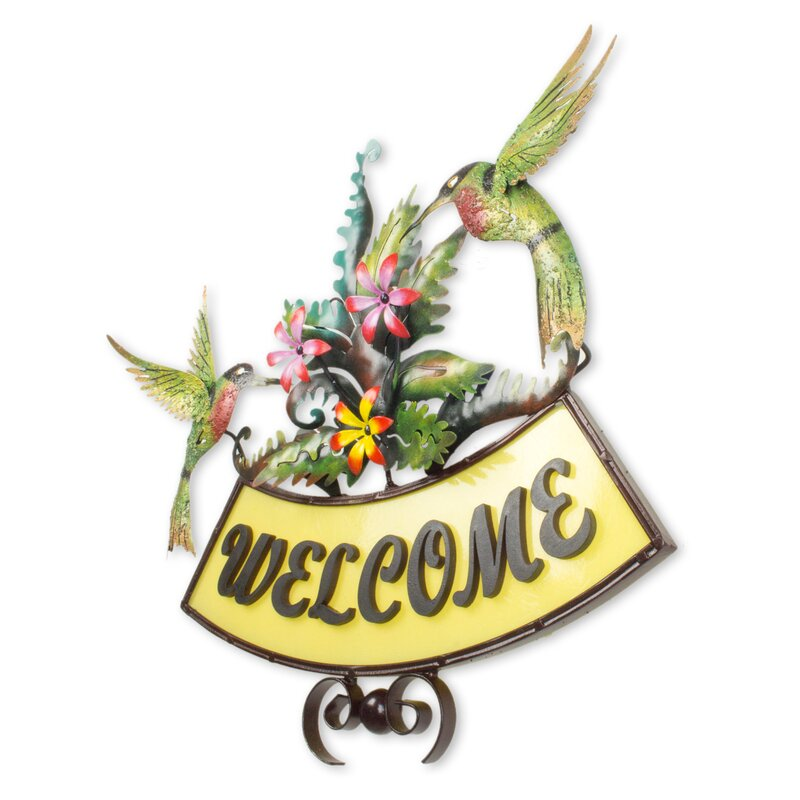 J Blas Iron Birds and Flowers On Hand Crafted Welcome Sign Wall Decor