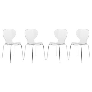 LeisureMod Oyster Side Chair (Set of 4)