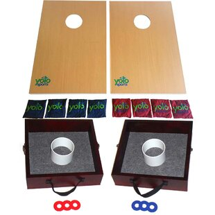 Yolo Sports Lawn Game Duo Cornhole and Washer and Ring Toss Set