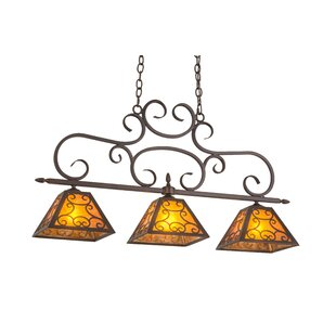 Meyda Tiffany Greenbriar Oak Bandolei 3-Light Pool Table Lights Pendant