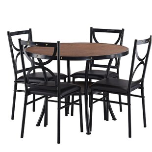 Caran Modern Round 5 Piece Dining Table Set