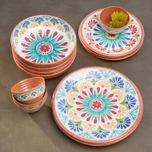 Adah 16-Piece Melamine Dinnerware Set, Service for 16