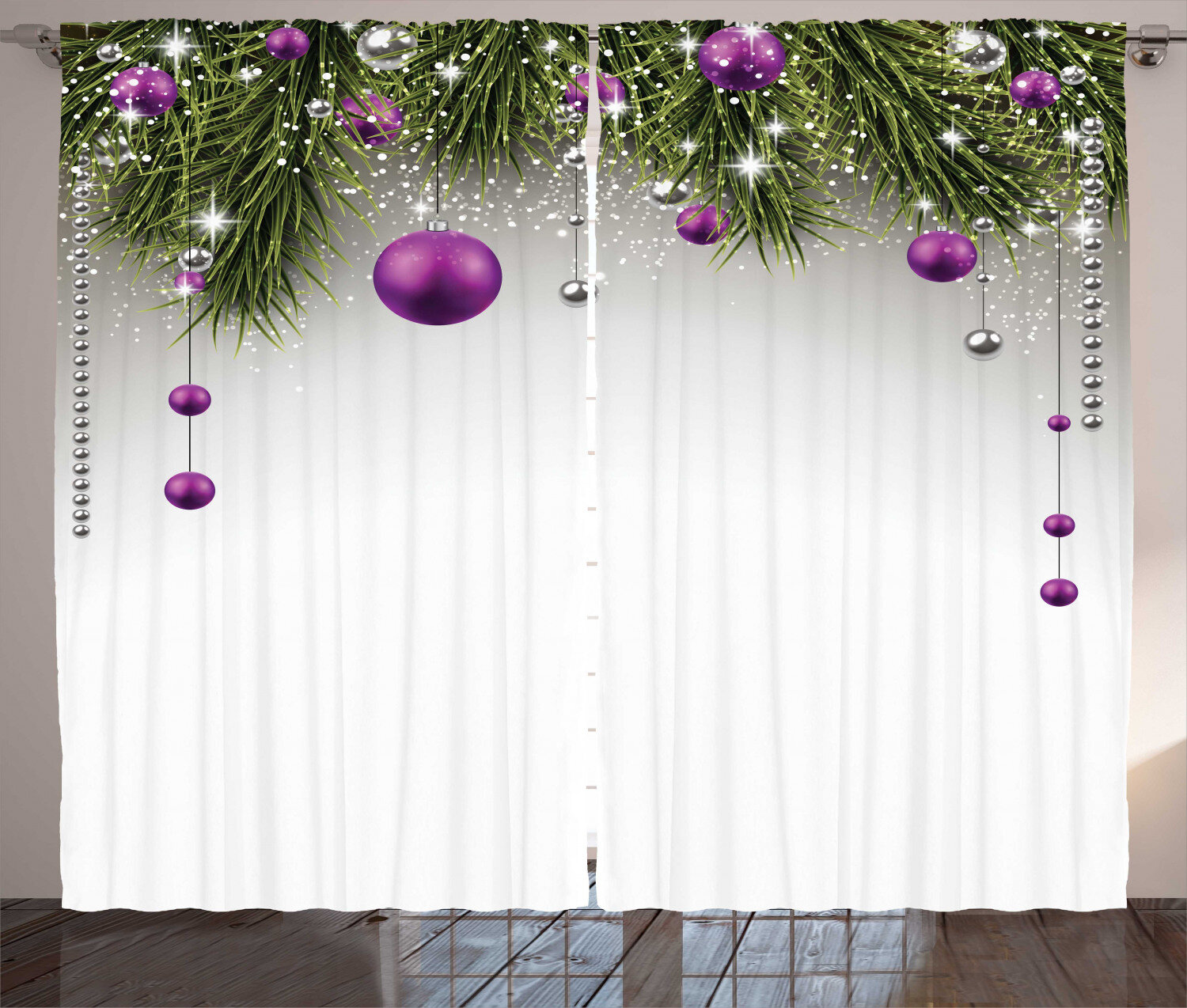 The Holiday Aisle Christmas Decorations Tree Decorations Tinsel And Ball With Gift Wrap Ribbon Picture Graphic Print Text Semi Sheer Rod Pocket Curtain Panels Reviews Wayfair