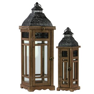 Urban Trends 2 Piece Wood Lantern Set
