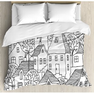 East Urban Home Sketchy Cartoon Design House Village with Stripes Hand Drawn Images Artwork Print Duvet Set