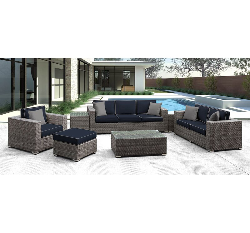 Solispatio Lusso 7 Piece Rattan Sofa Seating Group With Cushions Perigold