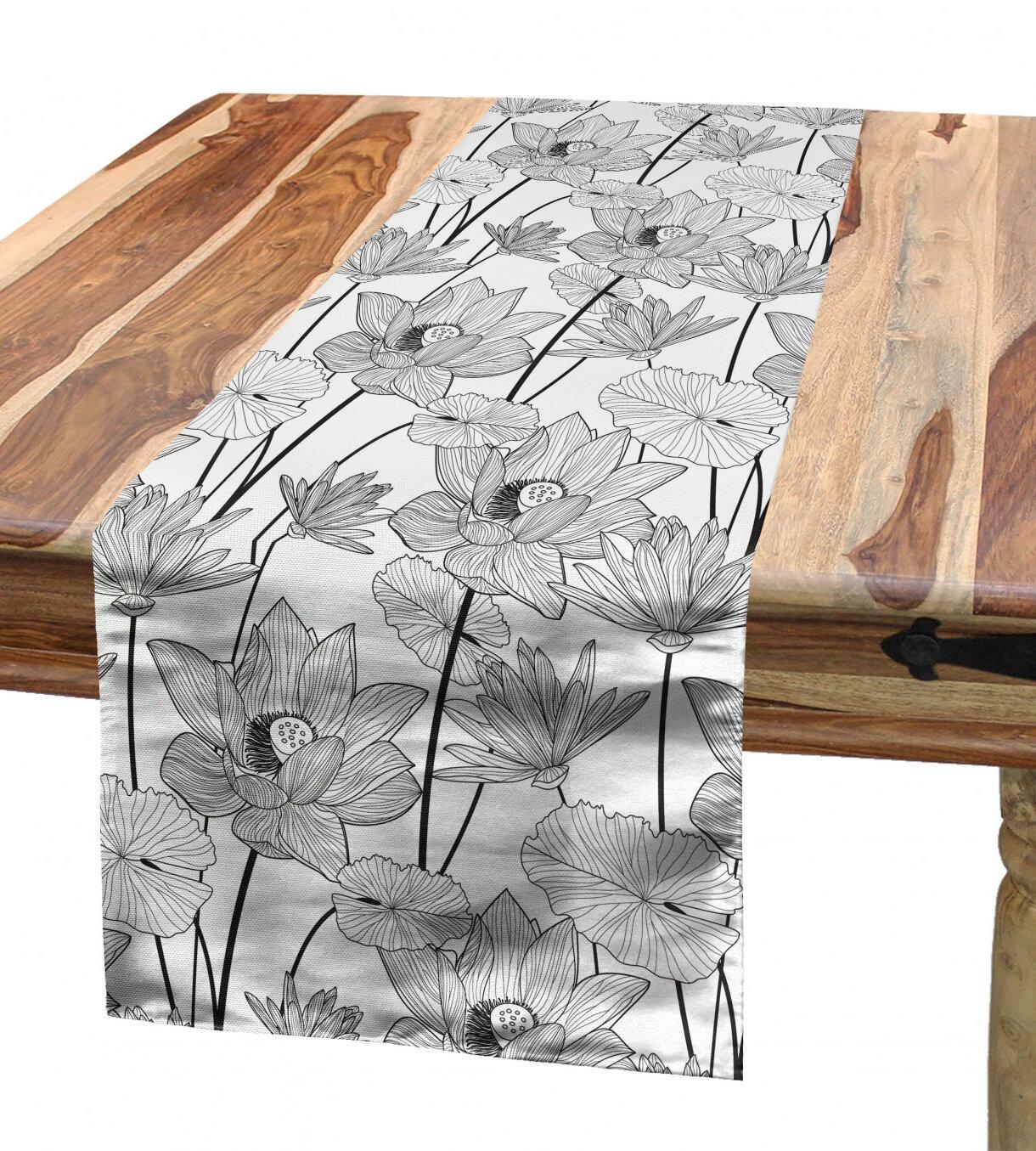 Table À Manger Japonaise chemin de table lotus ambesonne, style esquisse fleurs d'un style croquis  japon, prospérité monochrome, tapis de cuisine rectangulaire de salle à
