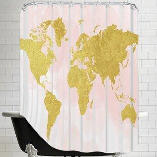 Peach Gold Shower Curtain