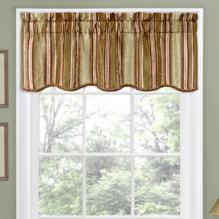 Stripe Ensemble Scalloped 52 Curtain Valance by Traditions by Waverly